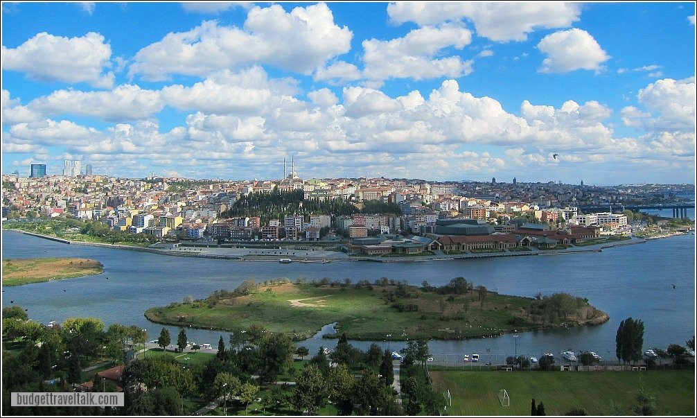 View over the Golden Horn from Pierre Loti Cafe Eyup Istanbul Turkey