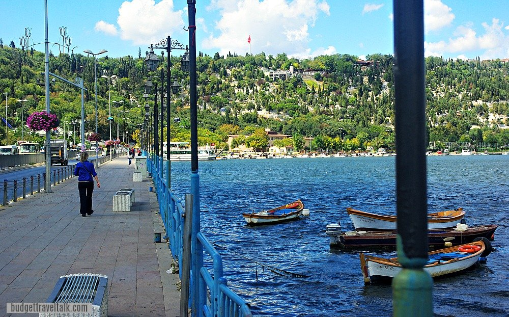 Walking from the Eyup Ferry toward the Gondola and Eyup Sultan Mosque in Istanbul Turkey