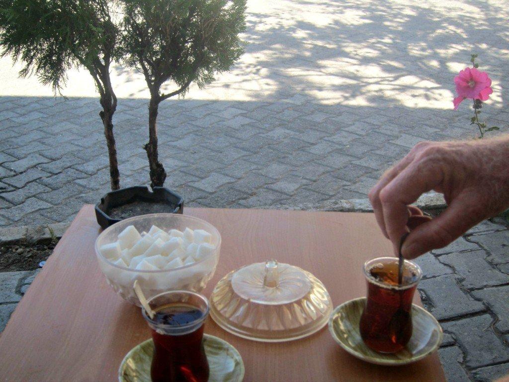 Tea at Cavusin near Goreme in Cappadocia