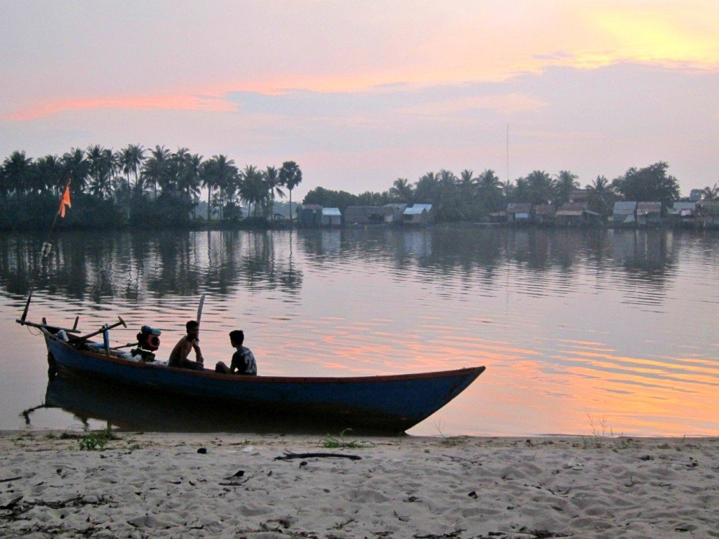 Kampot Boat and Boys at Sunset
