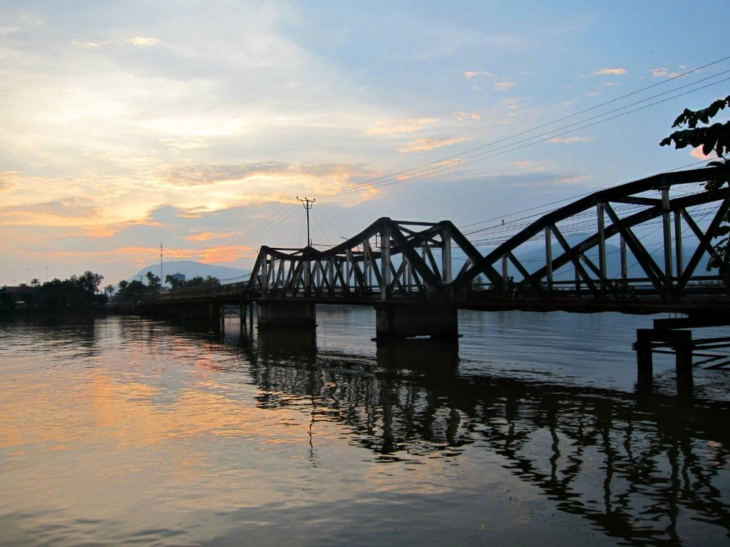 The Old Bridge was destroyed by the Khmer Rouge and Rebuilt with whatever was available.