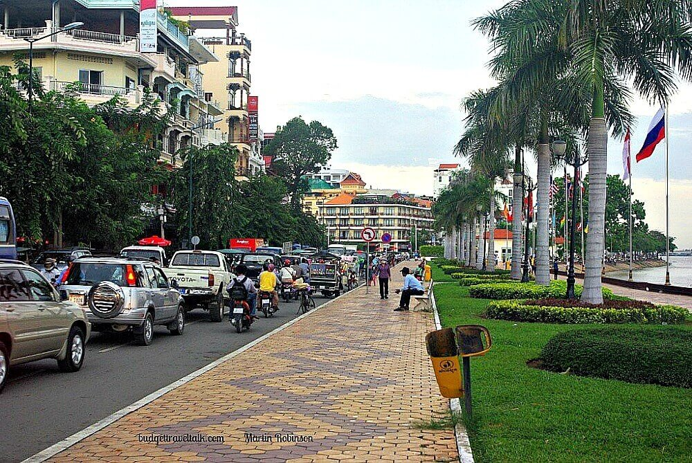 Photo of Sisowath Quay a paved and grassed riverside walkway in Phnom Penh