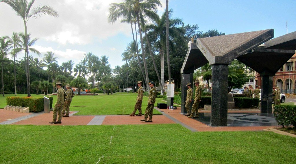 Soldiers practicing for Anzac Day Celebrations Prime Ministers Visit