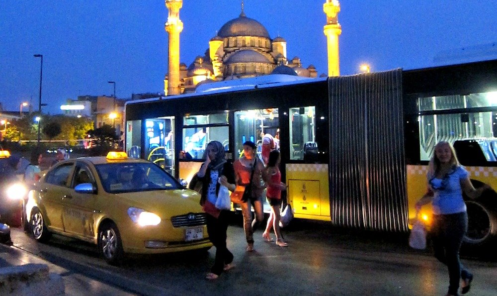 Istanbul Taxi Bus and New Mosque