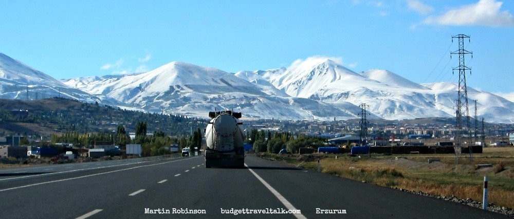 Aprroaching Erzurum with it's snowy mountains
