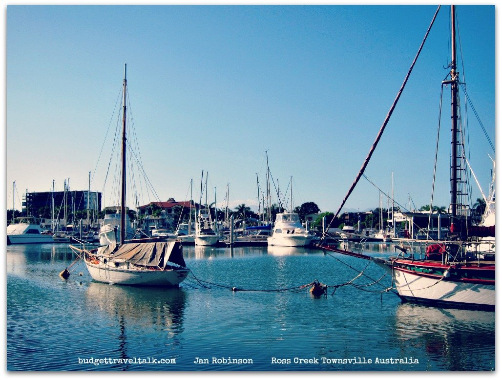 Boats moored in Ross Creek Townsville