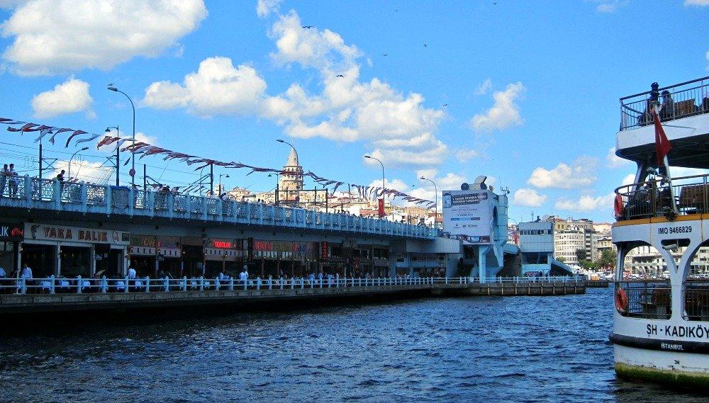 Galata Bridge, Galata Tower  and Kadikoy Ferry, Istanbul