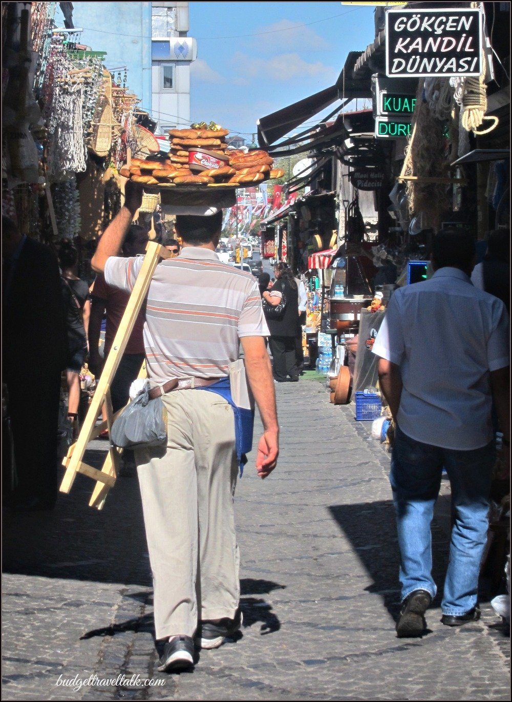 Following Simit Vendor on the way to Rustem Pasha Mosque Istanbul