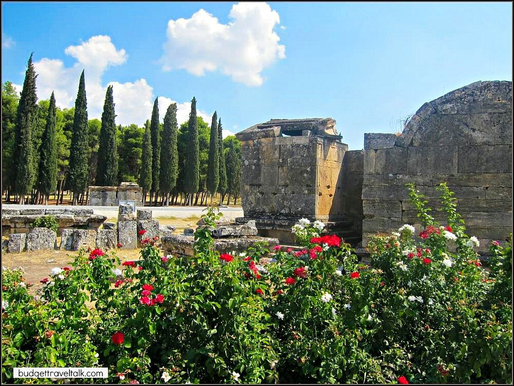 The gardens at the ruins of Hierapolis at Pamukkale benefit from the tourist dollars brought in by the travertines