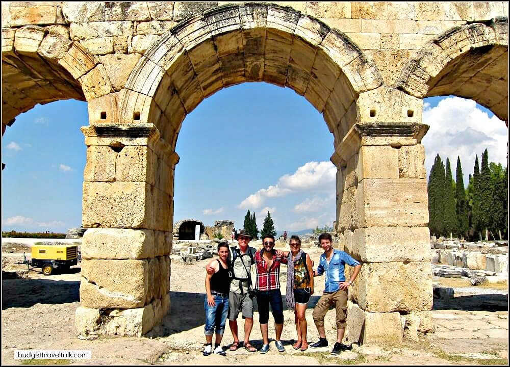 Marty and Jan at the ruins of Hierapolis in Turkey with some locals