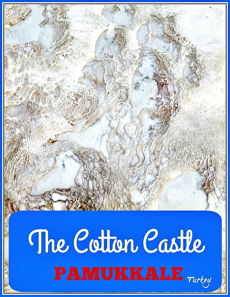 Pumakkale Turkey also known as the Cotton Castle is a blinding white travertine hill inland from Izmir