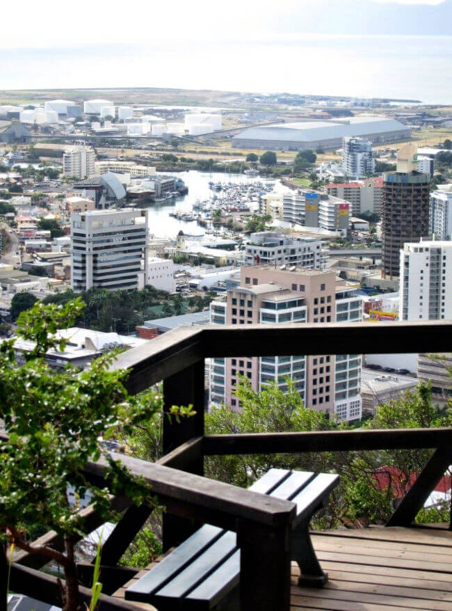 View of Townsville City from a bench on Castle Hill goat track
