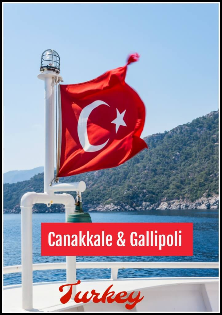 Red Turkish flag flying on a boat from Canakkale to Gallipoli in Turkey
