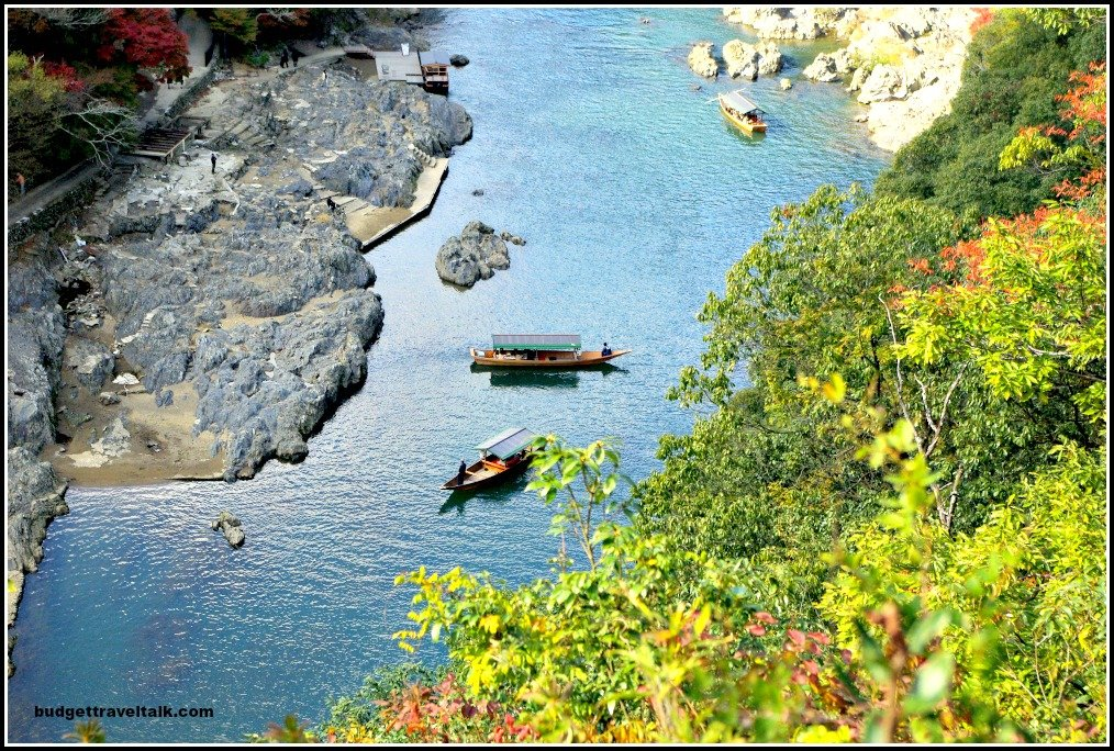 Arashyama gorge with boats