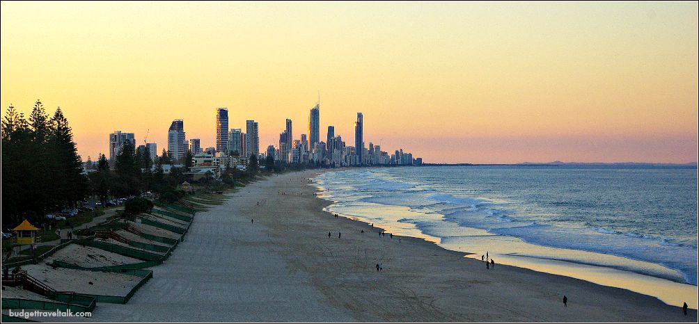 Miami Beach Gold Coast looking toward Surfers Paradise at Sunset