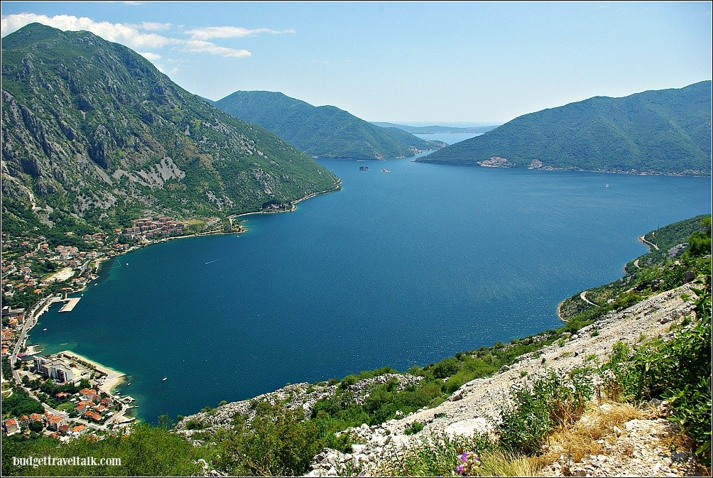 Bay of Kotor Montenegro viewed from the road on the mountain