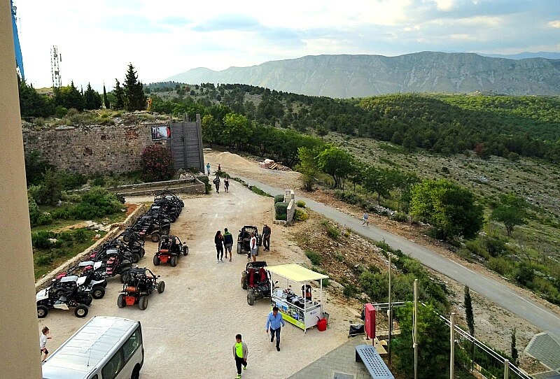 Buggy Safari vehicles at the back of the Cable Car Terminal at the top of Mt. Srd Dubrovnik