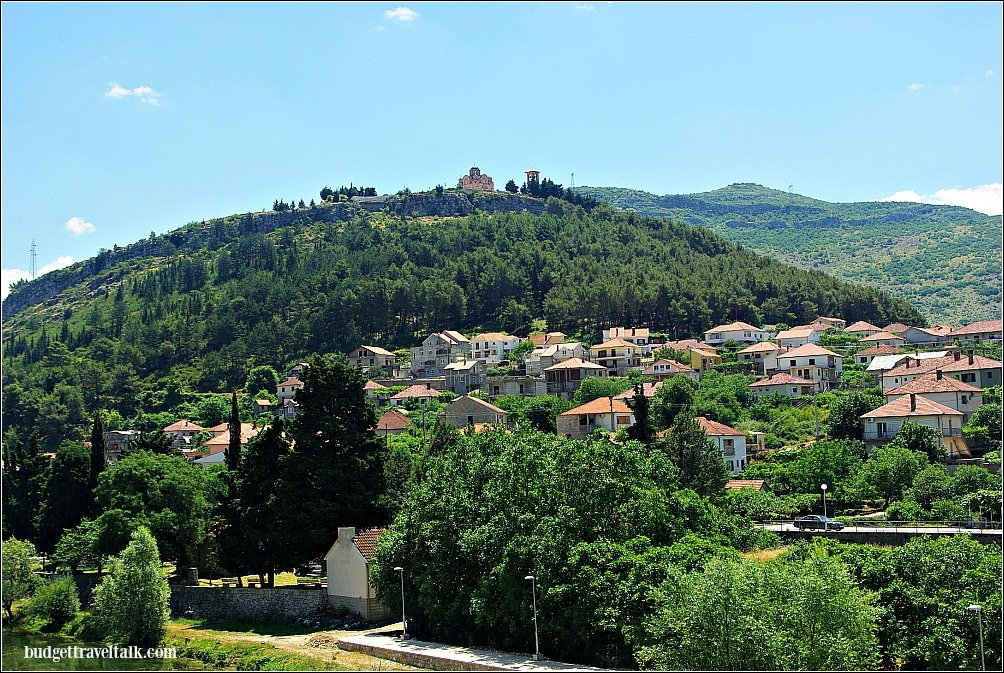From Arslanagić Bridge we could look up to Crkvina Hill where we'd been sipping coffee only minutes before.