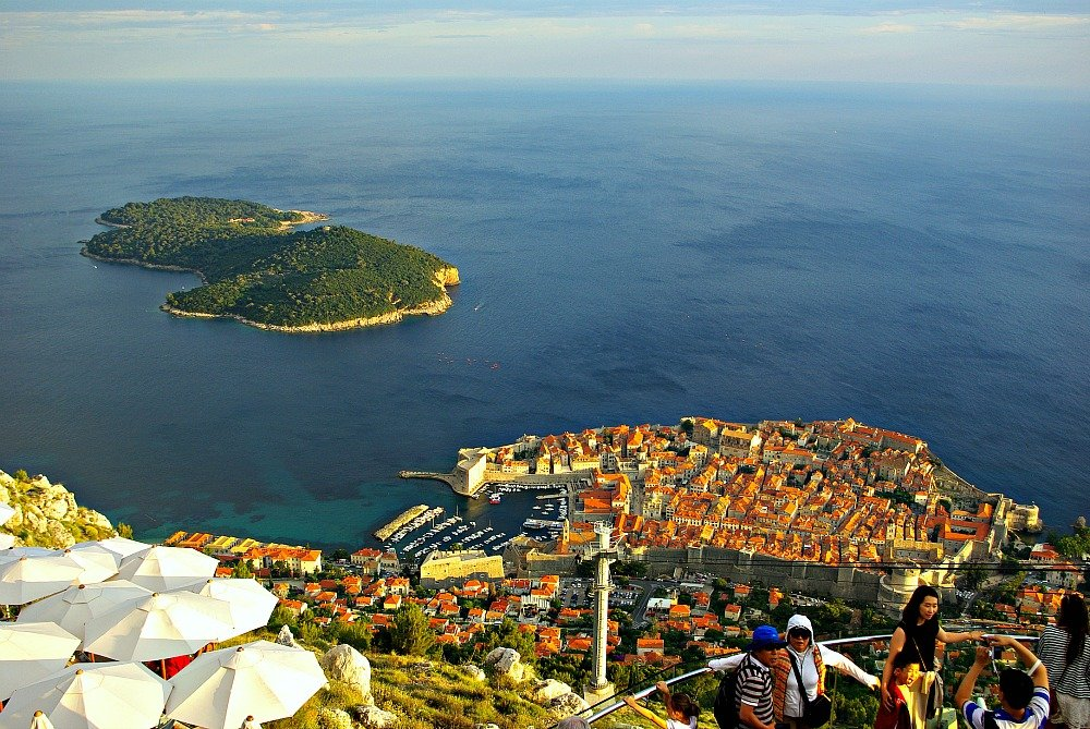 Mt. Srd viewpoint over Dubrovnik and Lokrum Island Croatia