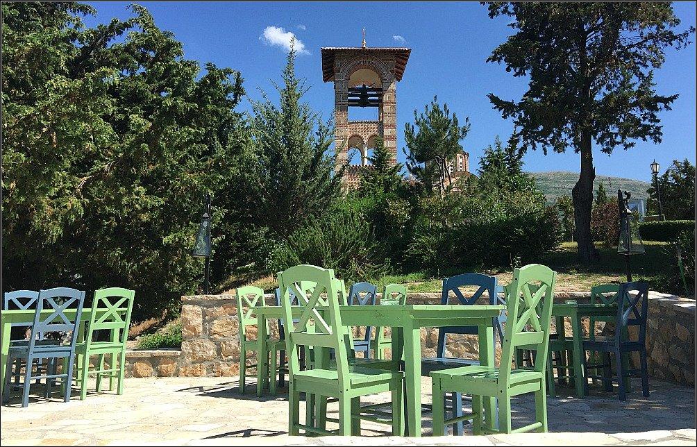 Gracanica church Bell Tower from Restaurant