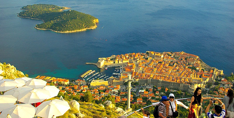 The view from Panorama Restaurant Dubrovnik with old town Dubrovnik below and Lokrum Island
