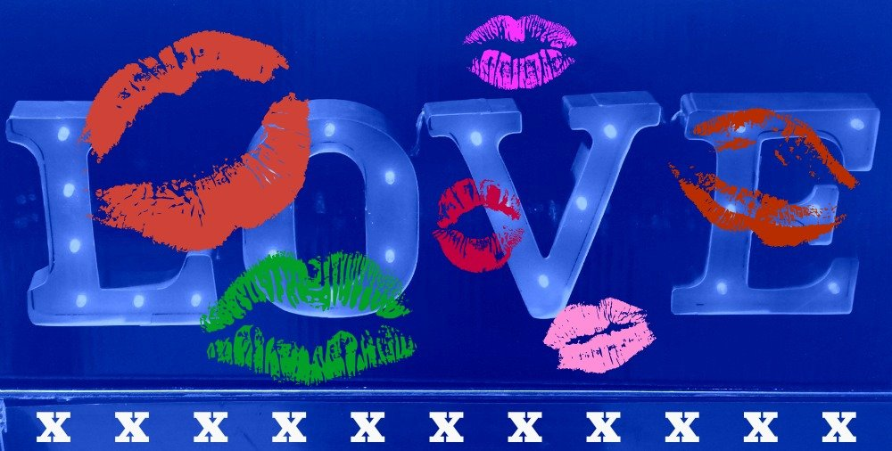 Blue Love and Kisses for Valentines Day