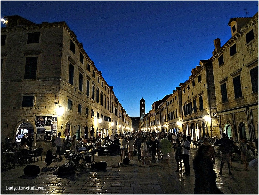 The Stradun or main street in Dubvrovnik, Croatia at night