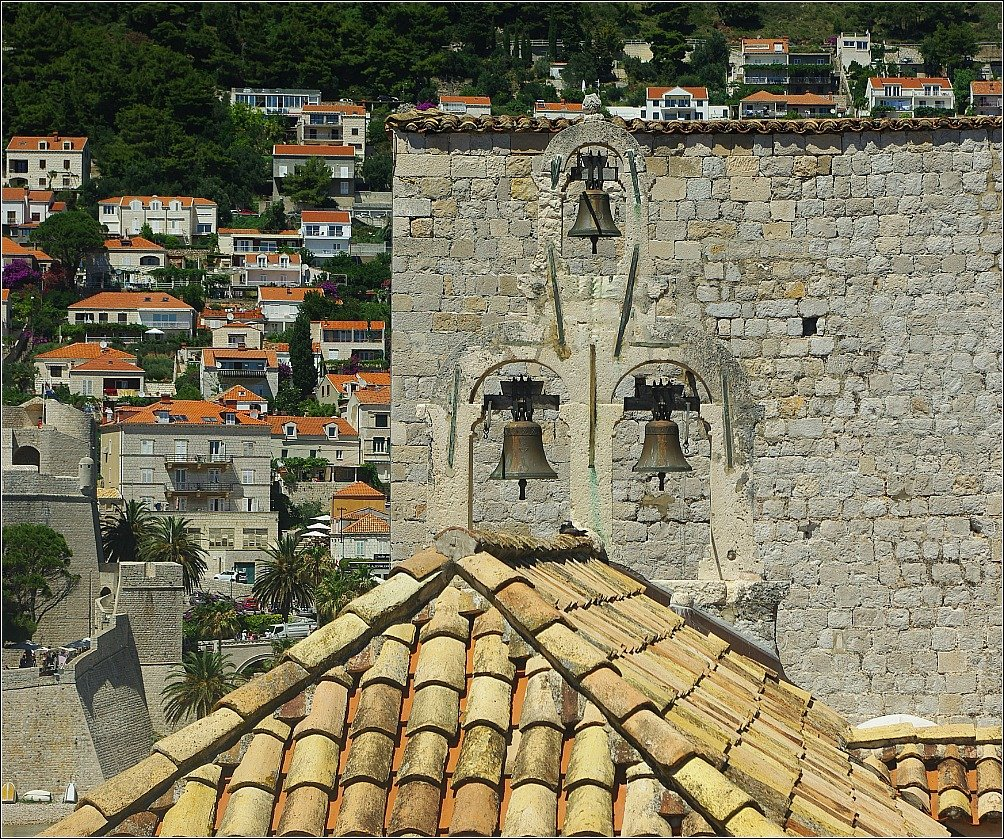 Dubrovnik The bells of St. Sebastian Church with the Ploce neighbourhood in the background