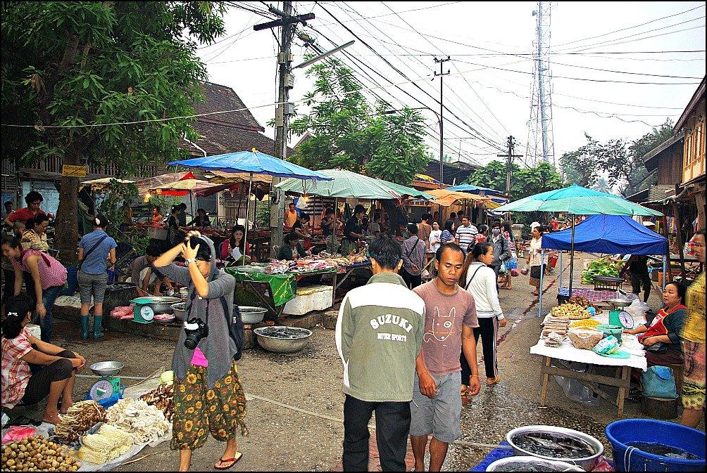 Luang Prabang Early Morning at the Food Market