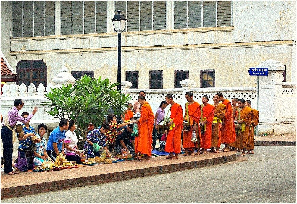 Luang Prabang Monks receiving alms