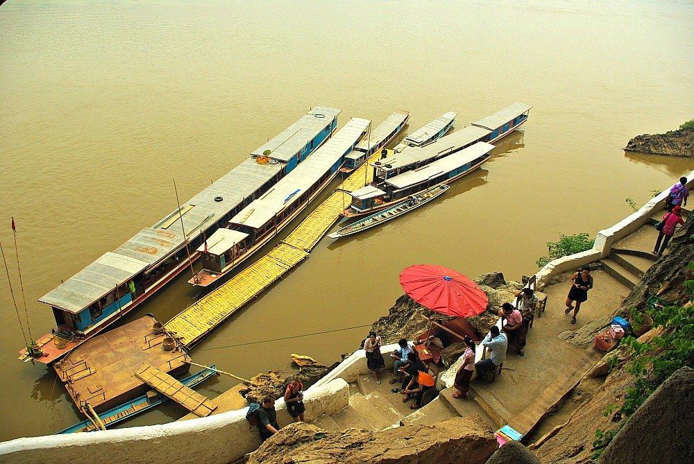 Mekong River Boats at Pak Ou Caves