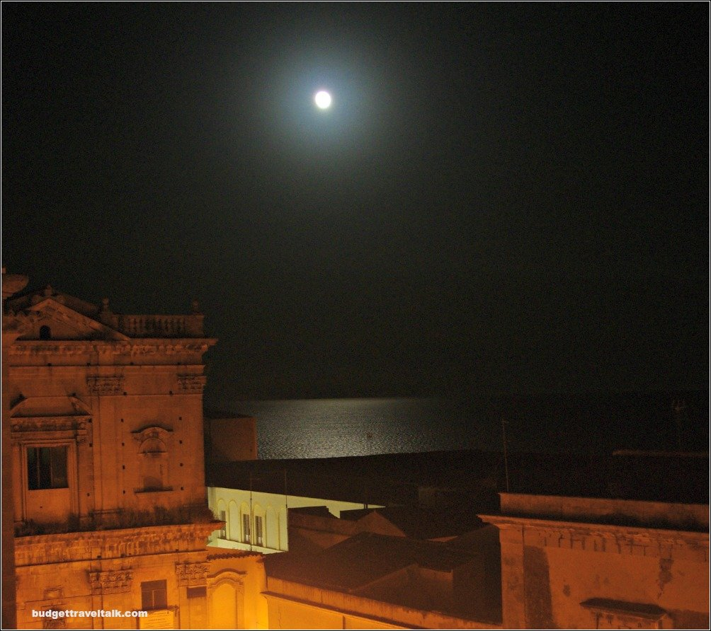 Moonlit view from our Airbnb place in Ortigia Siracusa Sicily