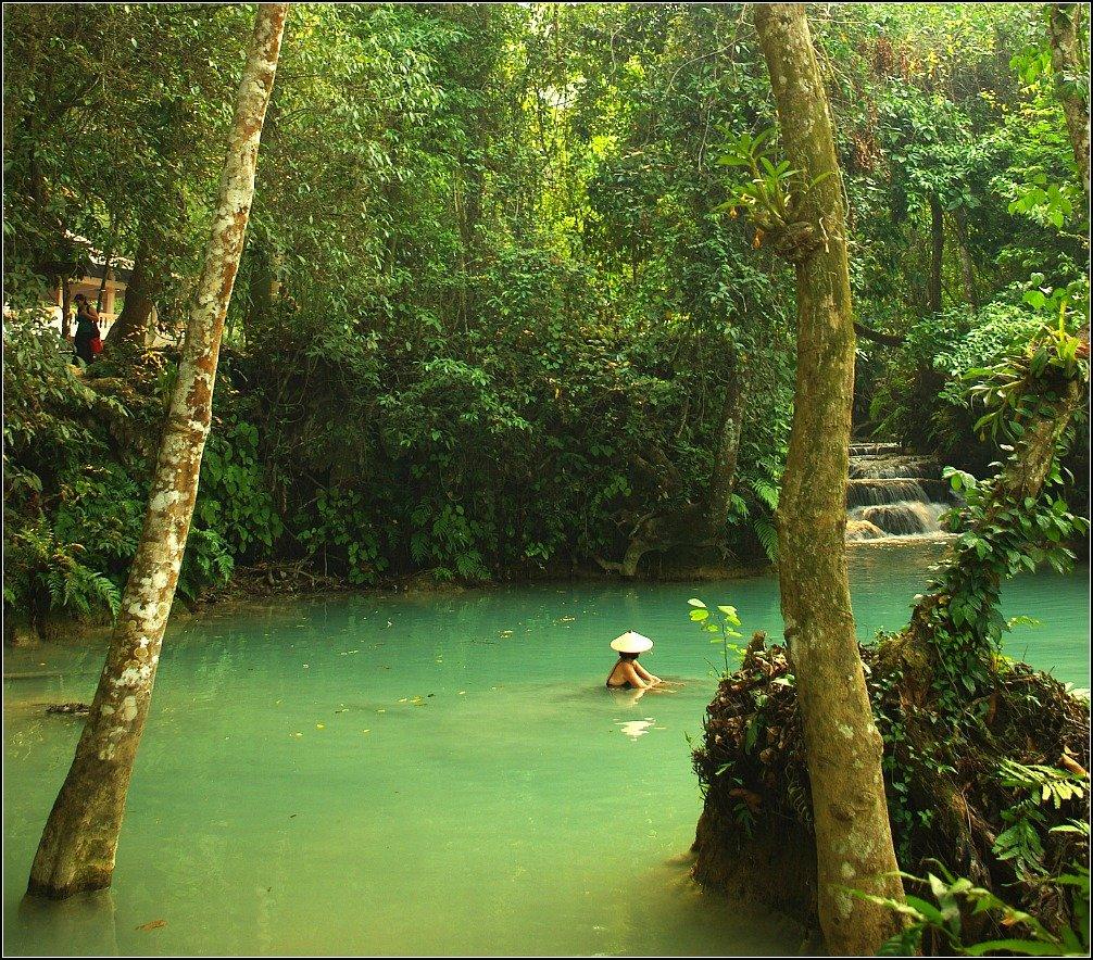 Swimming at Kuoang Si Waterfall Luang Prabang