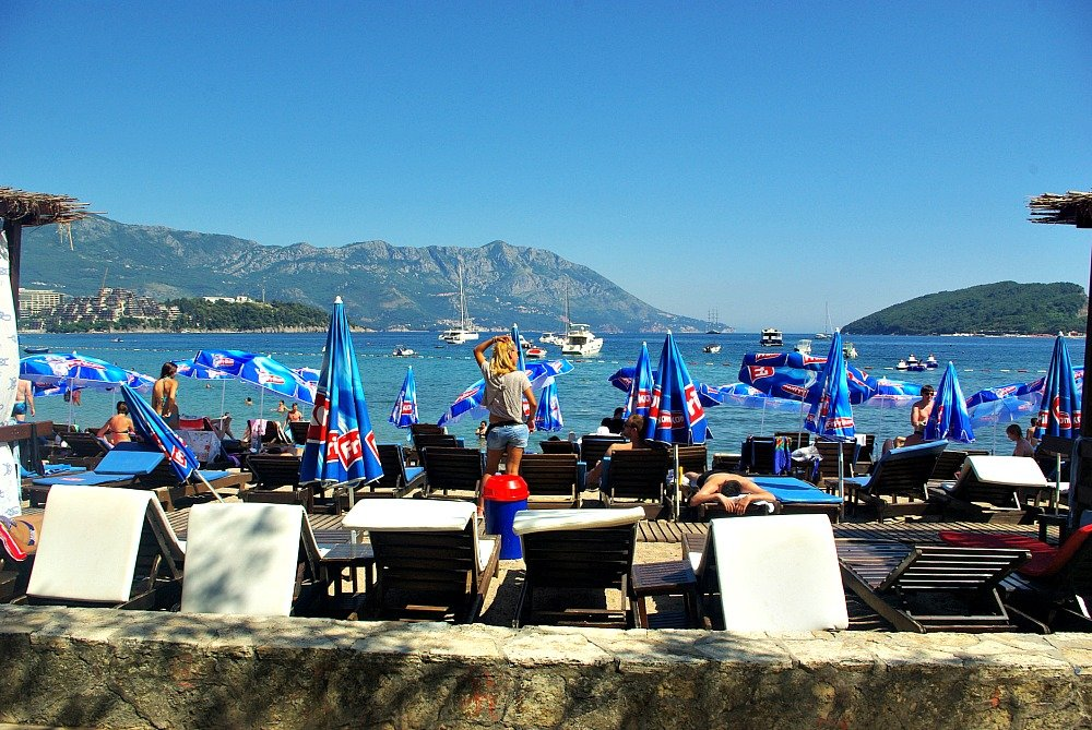 Budva Blue Beach Umbrellas