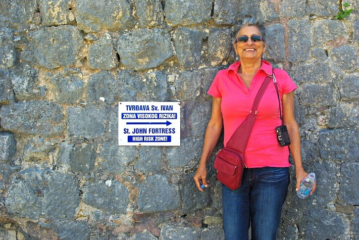 Jan from Budget Travel Talk having climbed 1350 steps to Saint John Fortress Kotor Montenegro