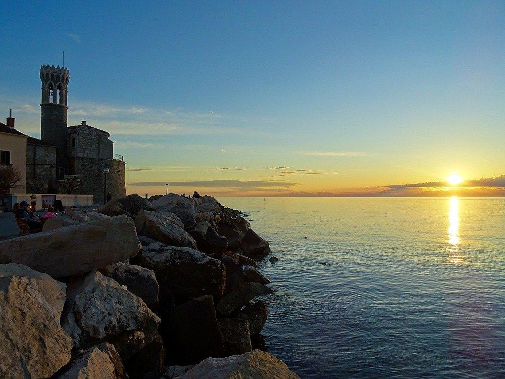 Piran Tower at Sunset