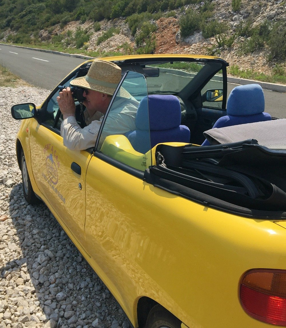 Yellow Convertible Rental Car