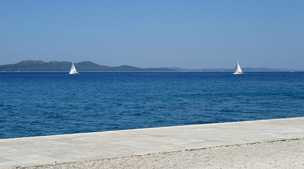 Zadar looking across the Strait to Ugljan Island