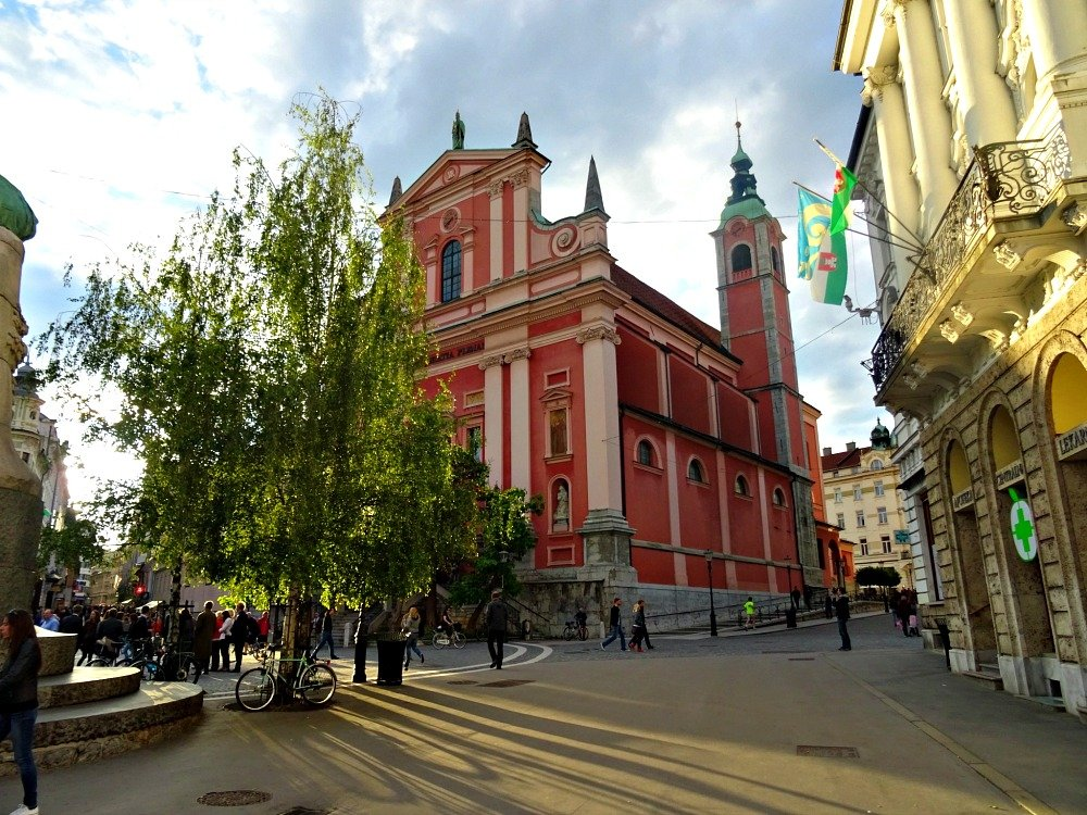 Ljubljana Franciscan Church in the Afternoon Light