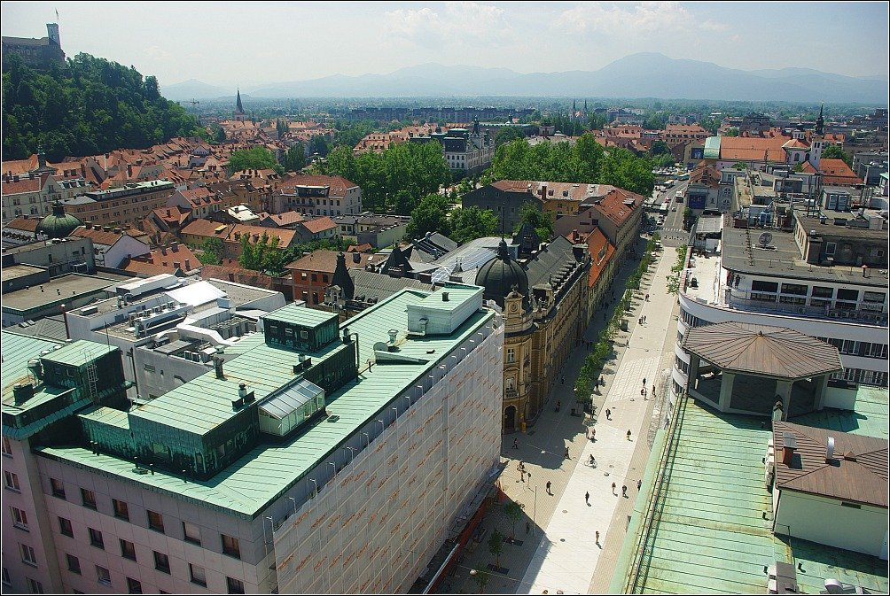 Looking south from Skyscraper down Slovenska Cesta Ljubljana