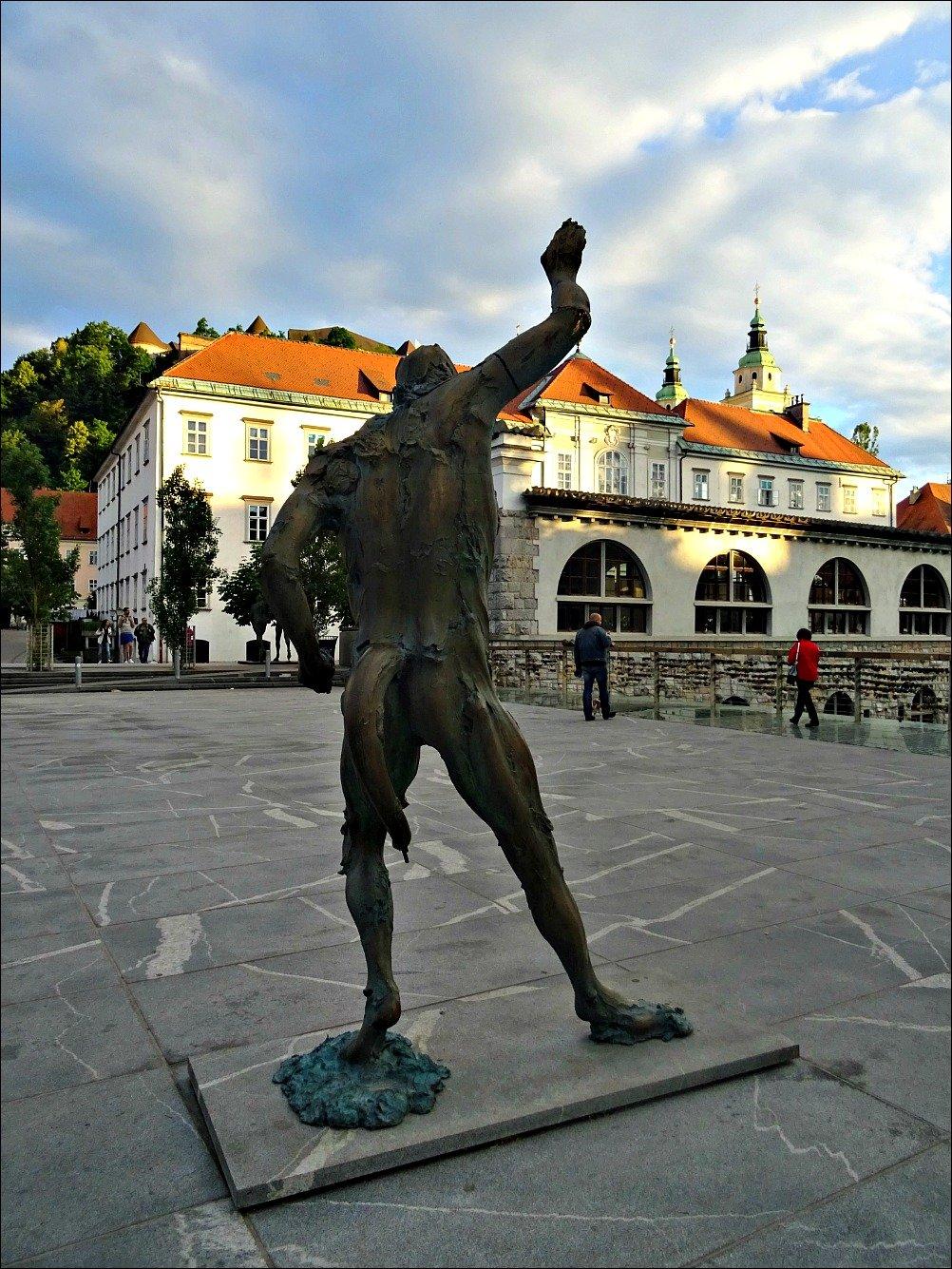 Ljubljana Satyr Sculpture Butchers Bridge