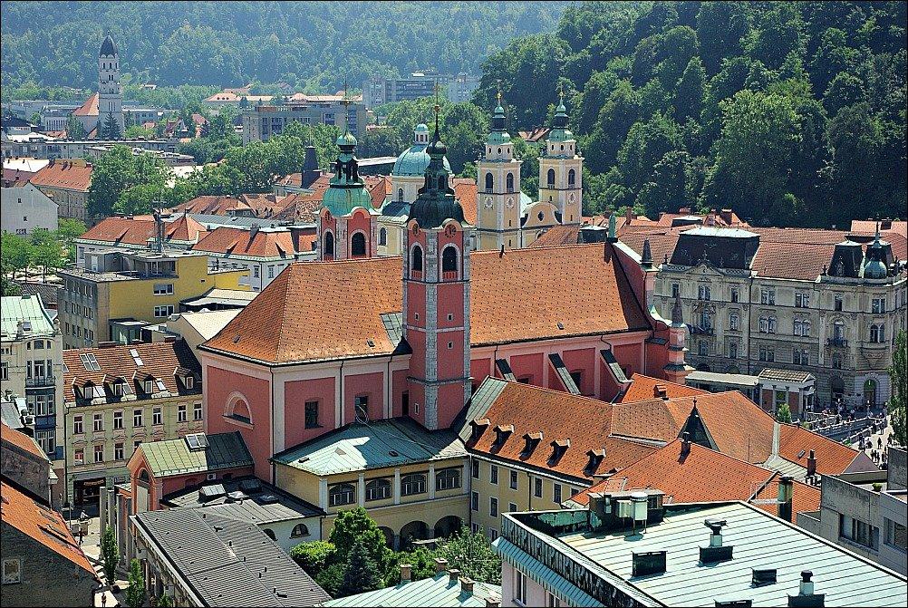 Ljubljana St. Nicholas from Skyscraper