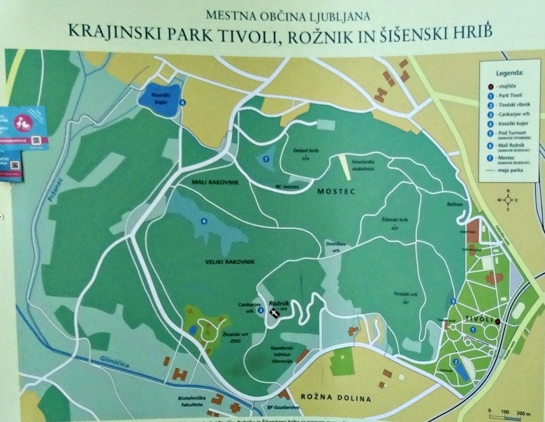 Ljubljana Tivoli Park Map