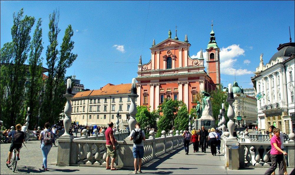Ljubljana Triple Bridge and Church of the Annunciation