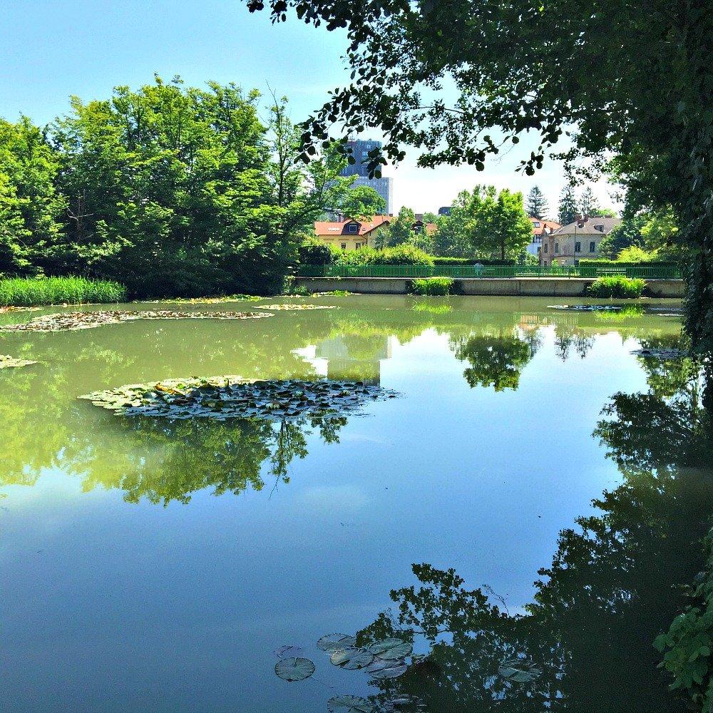 Tivoli Pond in Tivoli Park Ljubljana