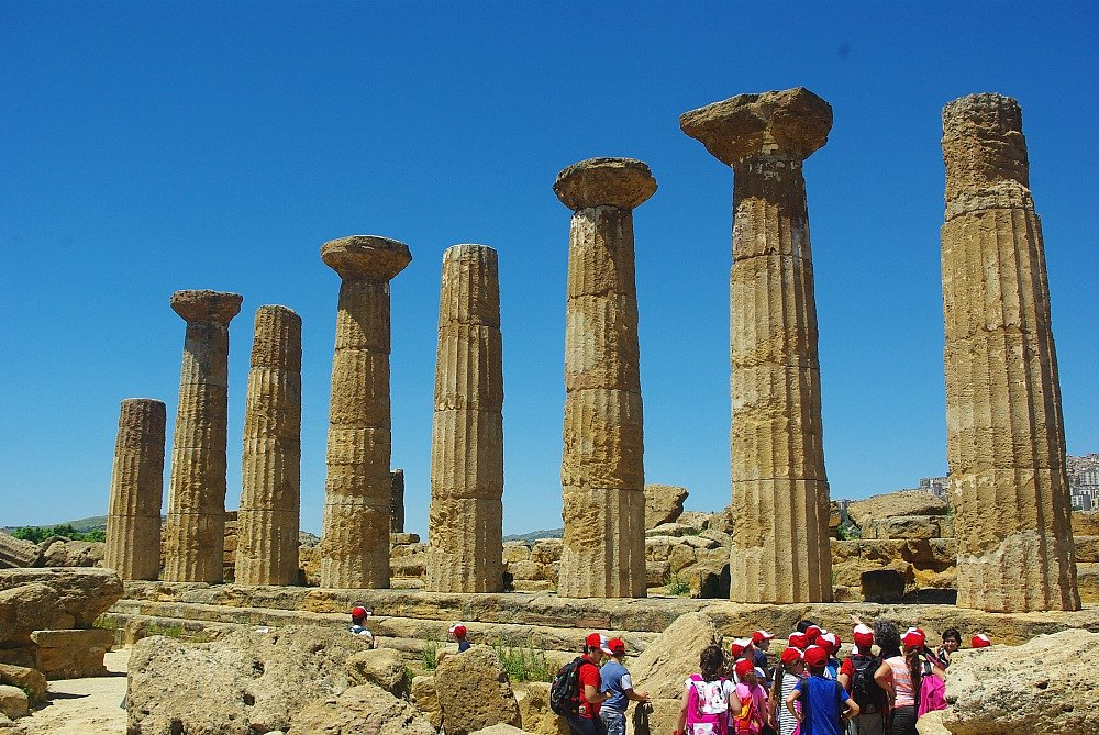 Temple of Heracles and kids Agrigento Sicily