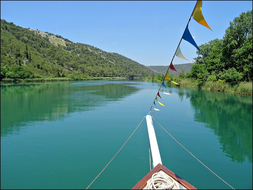 Heading downstream from Krka National Park toward Skradin Croatia