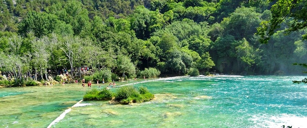 Krka Swimming at Skradinski buk waterfall pool Croatia