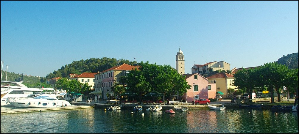 Skradin town from the Krka River, Croatia