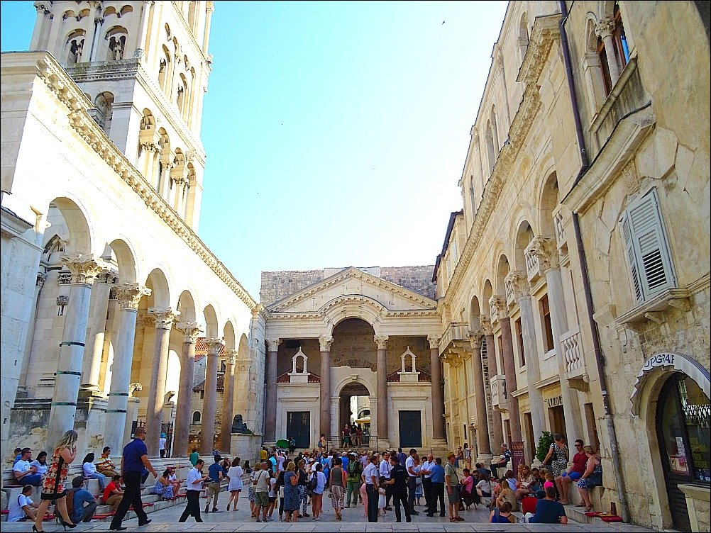Palace Peristyle in Split Croatia is a place to gather and meet friends and absorb the atmosphere of old Rome